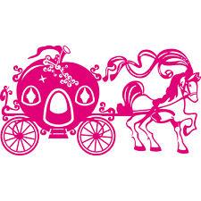 100cm Aufkleber Tattoo Pferd Kutsche Märchen Prinzessin Auto Wand Fenster Folie
