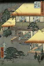 REPRO AFFICHE ART JAPONAIS XIX UTAGAWA HIROSHIGE PAPIER SATINE 190 GRS