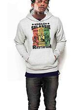 Reggae Hoodie Jah Rastafari Haile Sellasie I African Roots Grey Pullover Sweater