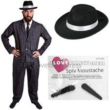 MEN'S GANGSTER COSTUME WITH BLACK HAT 5 PIECE 1920'S FANCY DRESS MAFIA PINSTRIPE
