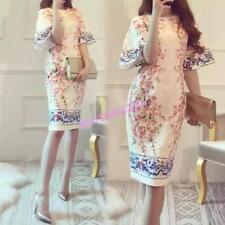 Womens Three-dimensional Fashion Knee Lenght Peach Blossom Pagoda Sleeve Dress