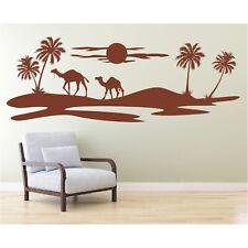 Landschaft Wandtattoo  Wüste Kamel Kamele Palmen Oase Sticker Wandaufkleber 1