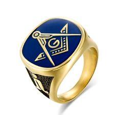 Free Mason Ring Freemasonry Blue Color Face AG Masonic Ring
