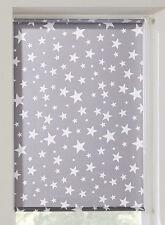 Klemmfix Rollo Sterne grau Klemmrollo Thermo Sonnenschutzrollo 45-100 cm breit