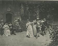ANTIQUE ELIZABETHAN COSTUME BRIDE GROOM WEDDING MINUET DANCING DRUM FLUTE PRINT