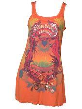 EVIE LADIES ORANGE LONG VEST T SHIRT TOP DRESS HIPPY FESTIVAL 8 10 12 14 16