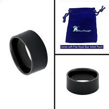 10mm Men's Black Tungsten Carbide Pipe Cut Matte Brush Center Wedding Band Ring