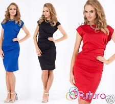 Ladies Ruffle Dress Short Sleeve Bodycon Boat Neck Party Tunic Sizes 8-14 FA377