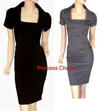 NEW Grey Black Pencil Dress Button Size 8 10 12 14 16 18 20 22