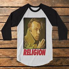 "Christopher Hitchens ""Bad Religion"" baseball tee raglan shirt richard dawkins"
