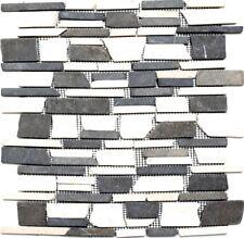 Mosaik Natur versetzt Wand Bad Sauna Weiß/Braun/Anthrazit| 40-0205_f | 10 Matten