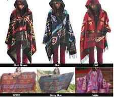 Wool Boho Tribal Indie Bohemian Poncho Cape Jumper Womens Pullover Coat Shawl