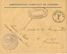 BELGIUM : 1916 stampless Official Cornesse Administration envelope-German cachet