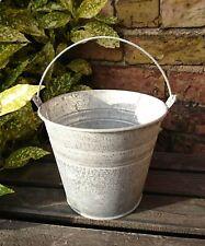 Traditional Double Ridge Metal Bucket Garden Planter Pot - 14.5cm - NEW