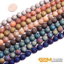 Metallic Titanium Coated Drusy Druzy Quartz Agate Round Beads For Jewelry Making