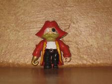 "Pirate PVC Figure Red Coat Hat Peg Leg Hook Arm 2 1/4"""