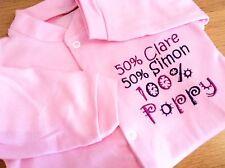 Personalised Baby Sleepsuit/Babygrow,Pyjamas 50%mummy,50% daddy, pink,blue,white