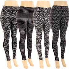 Plus Size Print Leggings Soft Stretch Pants Contrast Panel Moto Fashion 1X 2X 3X