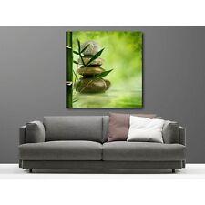 Tableaux toile déco carré galet bambou 16895605