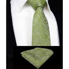 Mens Sage Green Tie Handkerchief Silk Floral Wedding Pocket Square Napkin Hanky