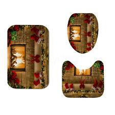 Christmas Fireplace Shower Curtain Bathroom Anti-slip Carpet Rug Toilet Cover