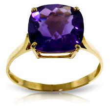 Genuine Purple Amethyst Cushion Cut Gemstone Ring 14K Yellow, White or Rose Gold