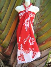 Hawaii Pareo Sarong Red White Hibiscus Hawaiian Luau Cruise Beach Pool Dress