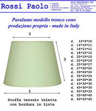 Pantalla modelo tronco cono de tela junto a de plástico; made in Italy