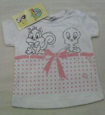 T-Shirt Titty Looney Tunes Neonata Bimba Bianco Rosa con fiocco Art 53