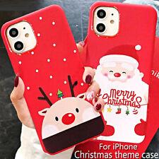 COVER per Iphone 11 / Pro Max XS XR X 8 7 6 5 Plus CUSTODIA Natale Babbo RENNA