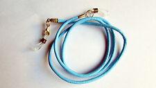 Aqua blue leather Eye / sun Glasses Necklace / Lanyard