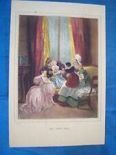 LITHOGRAPHIE COULEURS DEVERIA 1830 LES DEUX AMIS LITHO