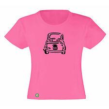 Art T-shirt, Maglietta 500 Fiat, Bambina Child Girl, Fucsia
