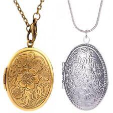 Silver Bronze Oval Flower Leaf Locket Open Photo Picture Frame Vintage Necklace