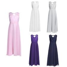 Blumenmädchenkleid Prinzessin Chiffon Kleid Lang Hochzeit Brautjungfern Kleider