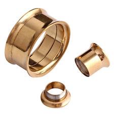 2mm-20mm ORECCHIO Tunnel Double Flared oro acciaio VITE SPINA Flesh Piercing