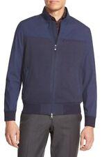 Vince Camuto VK070S Men's Dress Blues Mixed Media Bomber Flight Jacket Coat