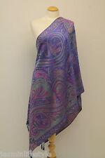 Donna Motivo Paisley Pashmina Bicolore Sciarpa Con Frange Hijab Scialle Stola