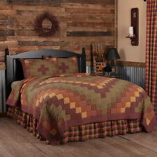 VHC Primitive Quilt Set Heritage Farms Bedding Red Cotton Star Patchwork