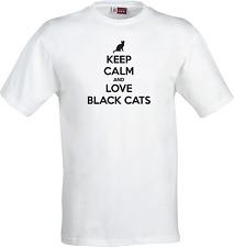 Mens Ladies T Shirt Or Hoodie Sweatshirt Keep Calm & Love Black Cats 2 Colours