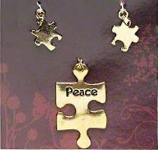 Autism Aspergers Awareness Gold Puzzle Piece Charms PEACE Pendant Set Jewelry