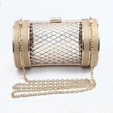 Metal Clutch Cage Drum Barrel Handbag Cylinder Chain Cross Body Evening Bags