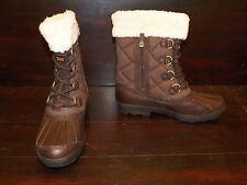 New Womens UGG Newberry Stout Brown Snow Winter Rain Duck Sheepskin Boots