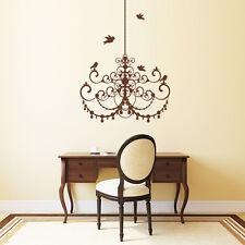 10570 Wandtattoo Loft Wandaufkleber Kronleuchter Vögel Licht Lampe Romantik