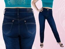Damen Jeans Jeanshose Gerades Bein Normalsitzend Blau 42 44 46 48 50