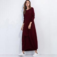 Womens Ladies Long Jersey Summer Long Sleeve Slim Maxi Dress Casual Sundress one