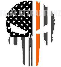 Rugged American Flag Skull Orange Line Vinyl Sticker Decal MS Research