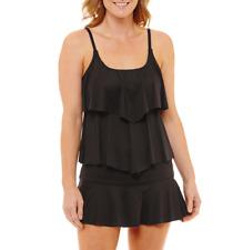 Liz Claiborne Tankini Swimsuit Top Size 8, 10, 12, 14, 16 Black Msrp $49.00 New