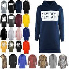 Womens Ladies Sweater Hooded New York Stretchy Baggy Sweatshirt Jumper Dress