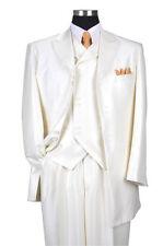 Men's 3 Pieces Fashion Wool Feel Herring Bone Striped Suit w/ Vest Cream